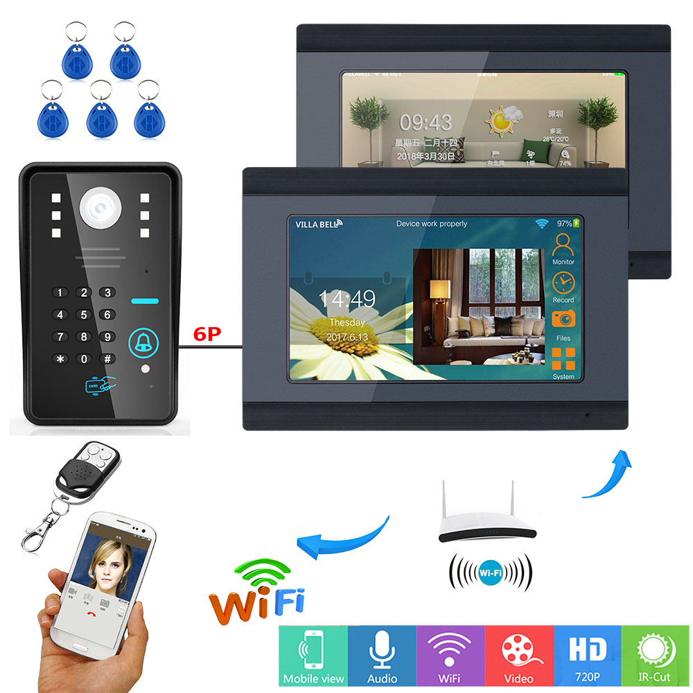YobangSecurity Video Intercom 7 Inch LCD Wifi Wireless Video Door Phone Doorbell 1 Camera 2 Monitor KIT Password RFID Unlock 7 inch lcd video door phone intercom doorbell rfid carder 1 camera 2 monitor with door button href