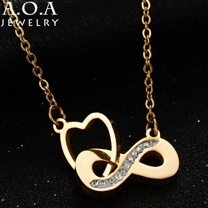 Hot Sale Stainless Steel Silver Plated Heart Necklace AAA Brilliant Austrian CZ Infinity Pendant For Women Gift Drop Shipping