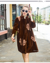 LVCHI mink coats 2016 European star special Noble New Natural Full Pelt Mink Fur Winter Coat Women's  Fashion brown Mink C oat!
