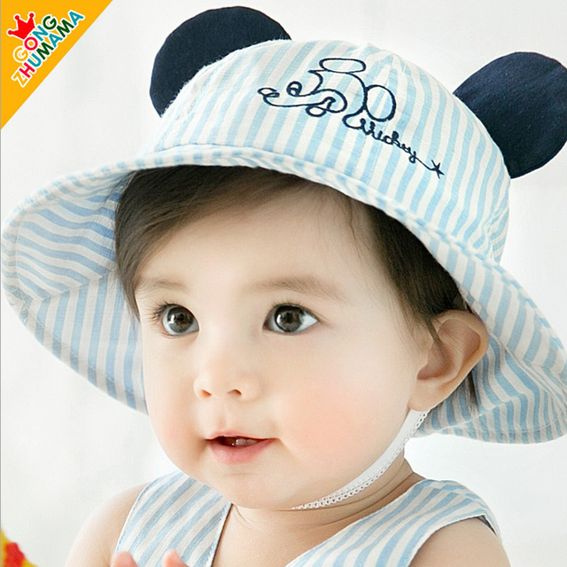 31f00fd2a10 New ArrivalToddler Infant Newborn Kid Baby Boy Girl Summer Beach Sun Hat  Cute Rabbit Ear Outdoor Checked Baby Girls Ruffled Caps
