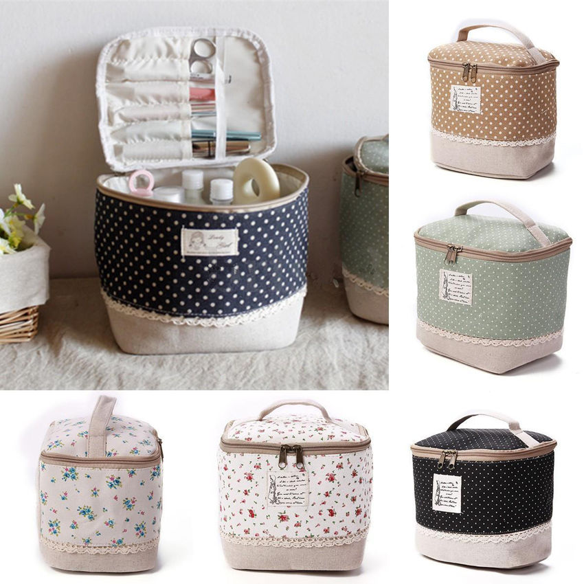 Travel Multifunction Linen Cosmetic Makeup Bag Toiletry Organizer Storage Case