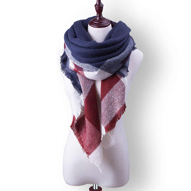Evrfelan moda cálida bufanda de las mujeres bufandas de invierno de alta calidad ropa de cuello femenino bufanda a cuadros forma de triángulo bufanda al por mayor