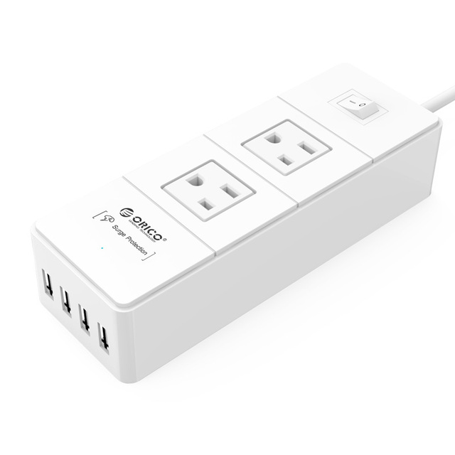ORICO IPC-2A4U-WH Power Strip 2 Multi-outlet Socket 4 USB Extension Socket Plug with on/off Switch Powerstrip material PC 2500W