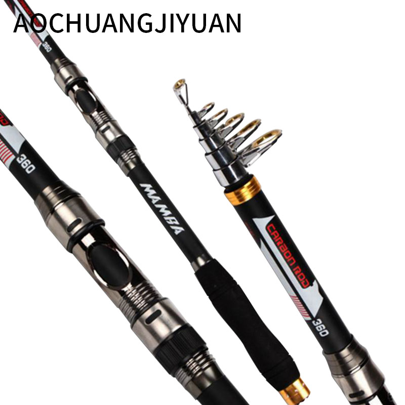 Sea Pole Carbon Material Fishing Rod Quality 2.1m 2.4 3.0 3.6m Telescopic fishing rod carbon fiber 540 Quality Spinning Rods цена