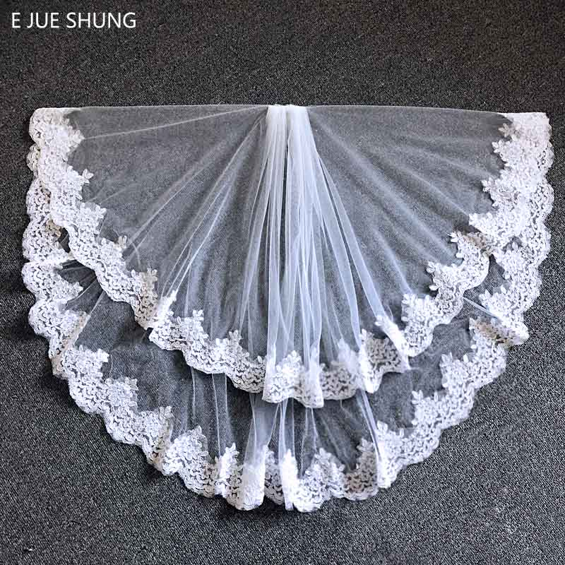 Free Shipping Wedding veils 2018 Ivory White  Lace Edge Two Layers Bridal Veils wedding accessories veu de noiva