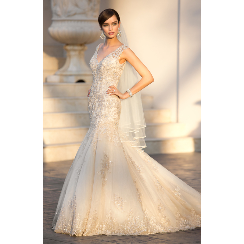 v neckline mermaid rose gold wedding dress 2017 5922 factory custom make