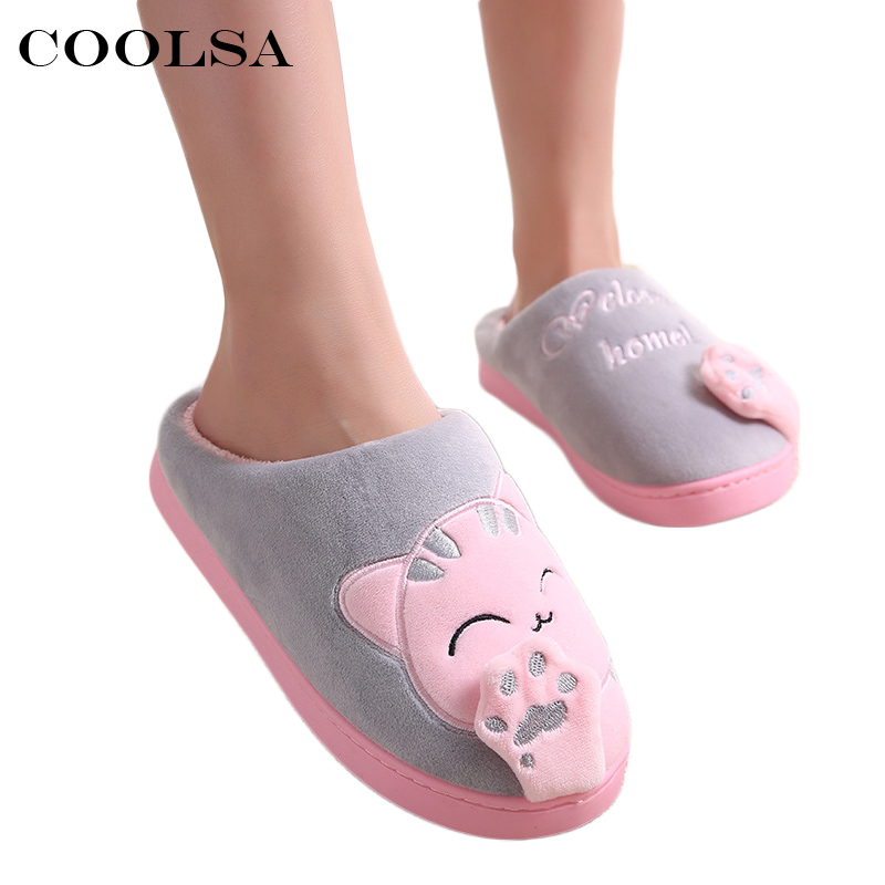d4c10d379 Coolsa Women Winter Home Cat Slippers Cute Totoro Cartoon Flock Plush  Slides Non slip Warm Slippers Bedroom Couple Floor Shoes-in Slippers from  Shoes on ...
