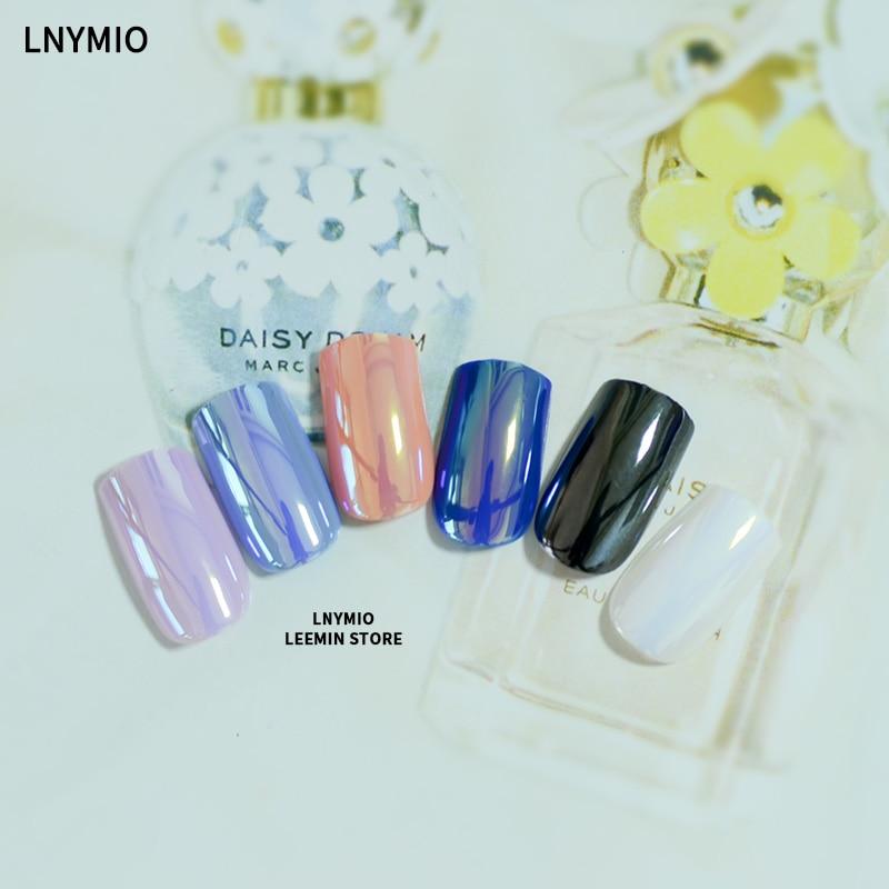 Uñas espejadas multi color reflectantes falsas puntas largas arte - Arte de uñas