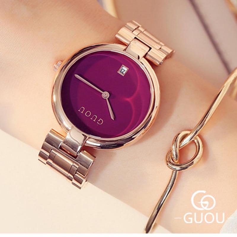 GUOU 시계 패션 여성 시계 로즈 골드 숙녀 시계 손목 시계 자동 날짜 relogio feminino 시계 여성 여성 시계