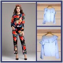 Big sale  womens set ruffles Shirts floral print sweatshirts pencil pants suits