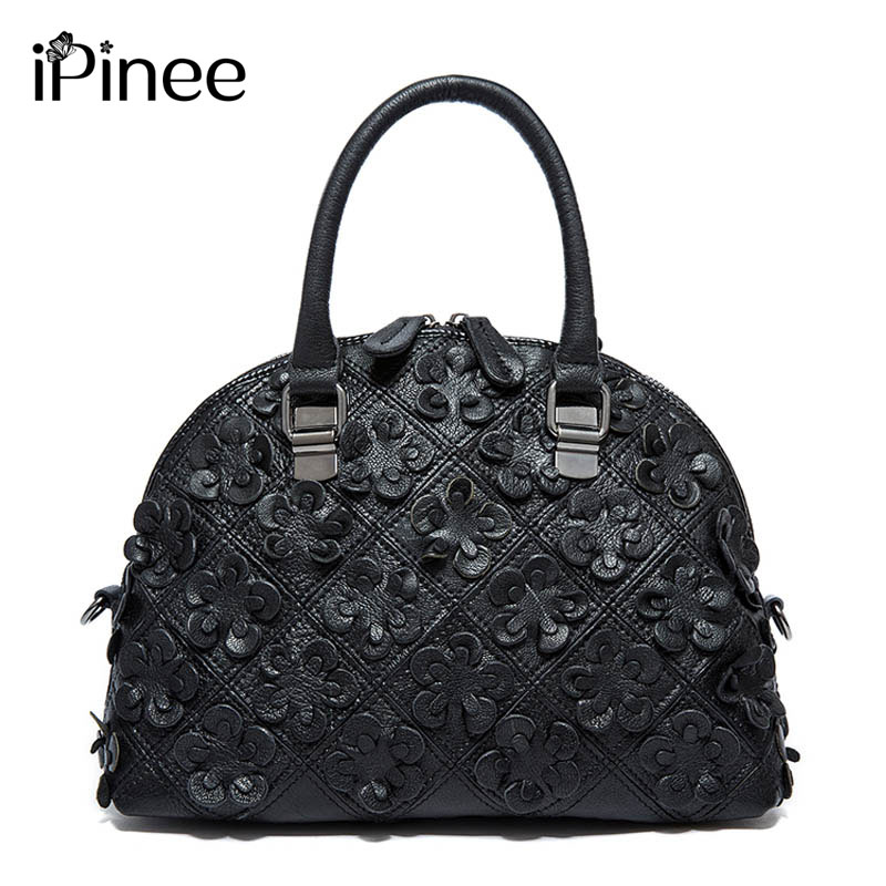 iPinee Vintage Famous Designer Bags Brand Women Leather Handbags Kulit Tulen Shell Bag Cowhide Flower Lady Bag