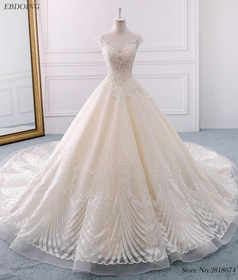 Noble Vestidos de Baile Vestido de Noiva Plus Size Capela Trem vestido de Casamento Da Noiva Colher Decote Mangas Curtas Ves tidos De Novia Com frisado