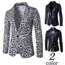 Мужские с принтом костюм Для мужчин самосовершенствование одна кнопка Облегающие Тонкий леопардовым покрытием модные костюмы куртка Жених одежда