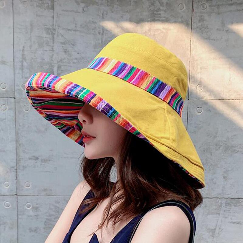 HTB1dxaCbyHrK1Rjy0Flq6AsaFXa0 - Double sided irregular Pattern Bucket Hat Women Summer Cotton Breathable Leisure Bob Caps Outdoor Sports Casual Dome Panama Cap
