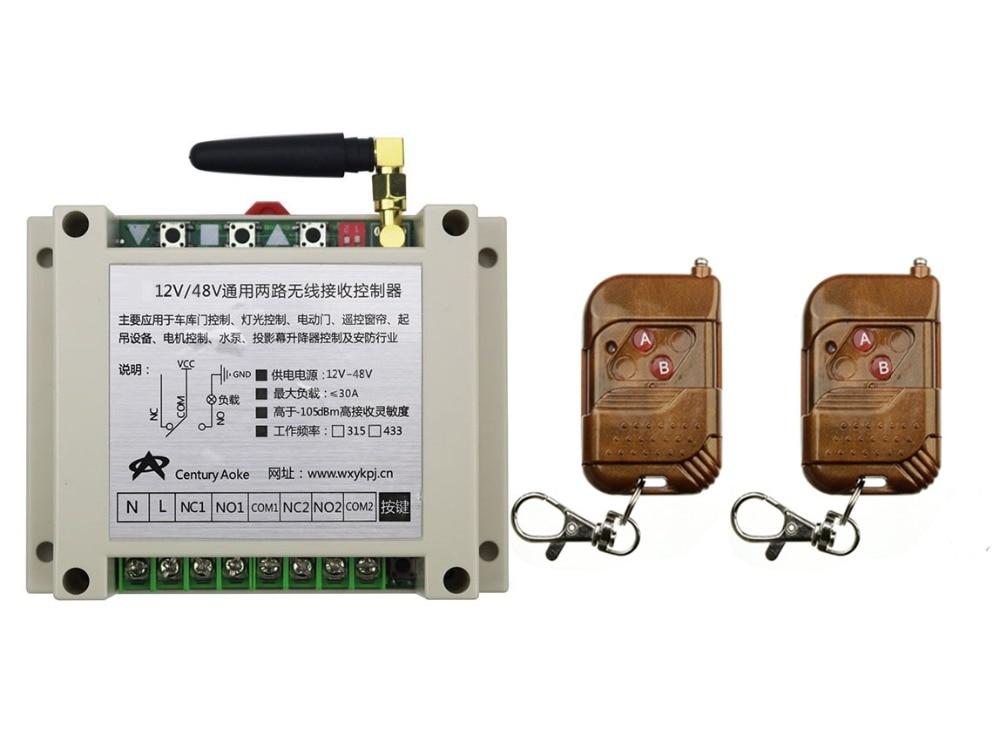 ФОТО DC12V 24V 36V 48V 10A 2CH RF Wireless Remote Control Switch System 2 transmitter & 1 receiver relay Receiver Smart Home Switch