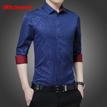 iRicheraf Mens Clothing Smart Casual Men Shirts Plus Size 5xl Full Sleeve Autumn Printing Shirt Polyester High Quality White