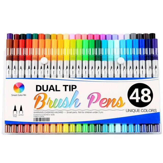 Smart Farbe Kunst 48 Farben Dual Tip Pinsel Stifte mit Fineliner ...