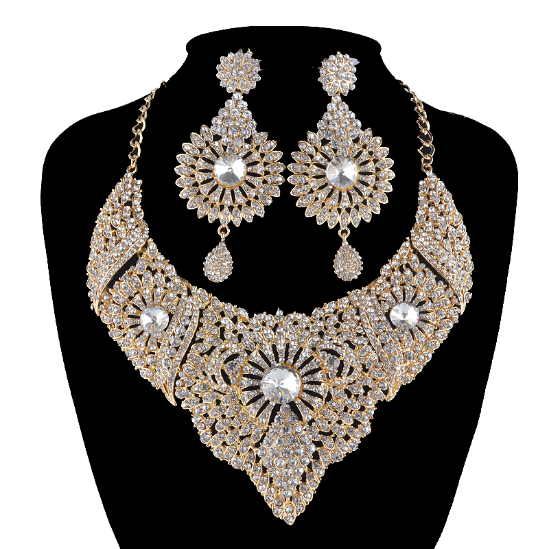 African bridal wedding jewelry sets golden metal rhinestone crystal statement necklace earrings set women party prom jewelry chic rhinestone african plate shape pendant necklace and earrings for women