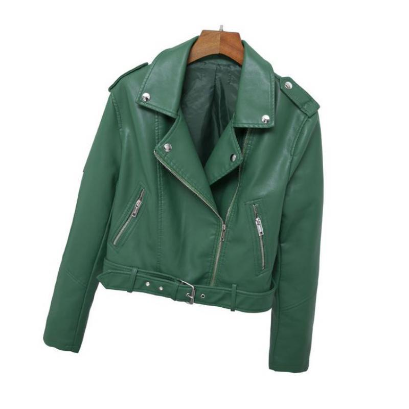 New 2019 Women   Leather   Coats Spring Autumn Long Sleeve Slim Bikers Jackets Ladies Short Green Motorcycle Woman Bomber Jacket