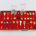 22pcs/set Fairy Tail Lucy Cosplay Key Keychain Figure the Zodiac Gold Key Pendants Action Toy