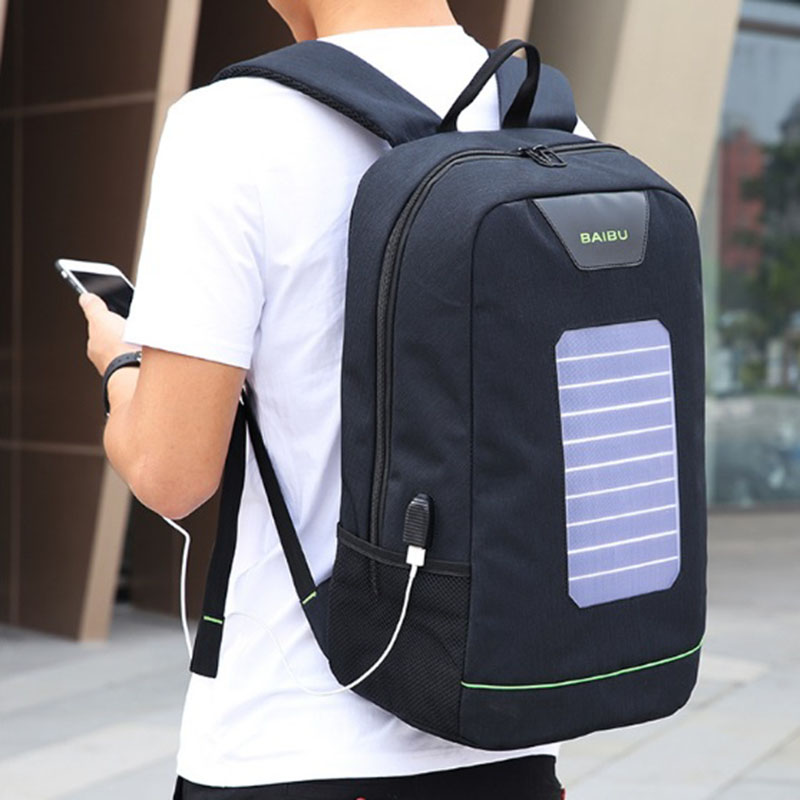 BAIBU Solar Energy Men Backpack USB Charging 15.6 Notebook Backpacks Male Women Anti Theft Travel Bag Luminous Strip School Bags
