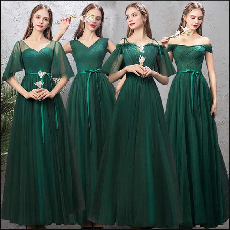 36876610f4e8b New Bridesmaids Dress Long Emerald Green Formal Simple Graduation Prom Gown  For Girls Mismatched Vestido Dama de Honra Longo