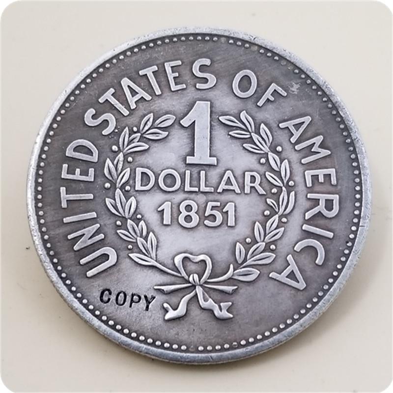 1 долл. США, 1851 индийская голова, Соединенные Штаты Америки, копировальная монета, бесплатная доставка