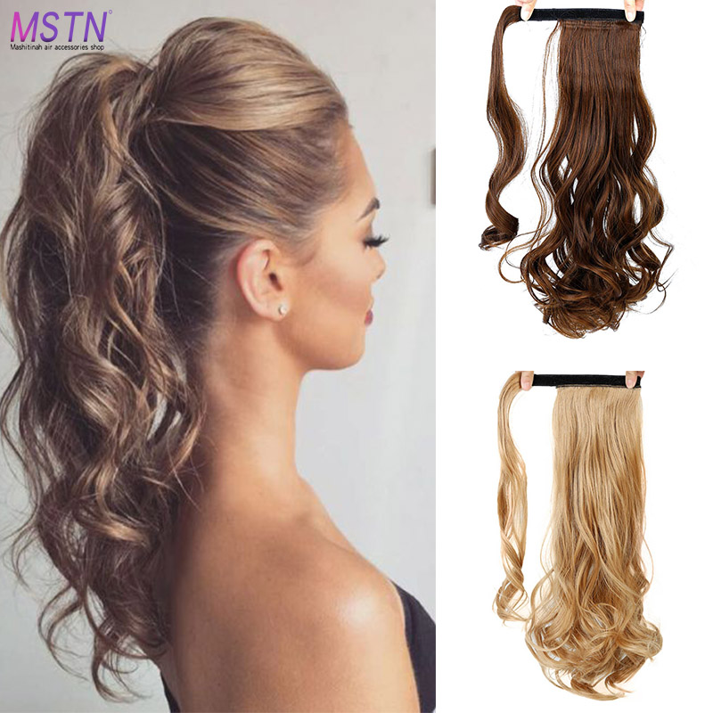 MSTN Fashion Women Ponytail Extensions Long Straight/Curly Hair Wrap Around Clip In Ponytail Hair Extension   headwear