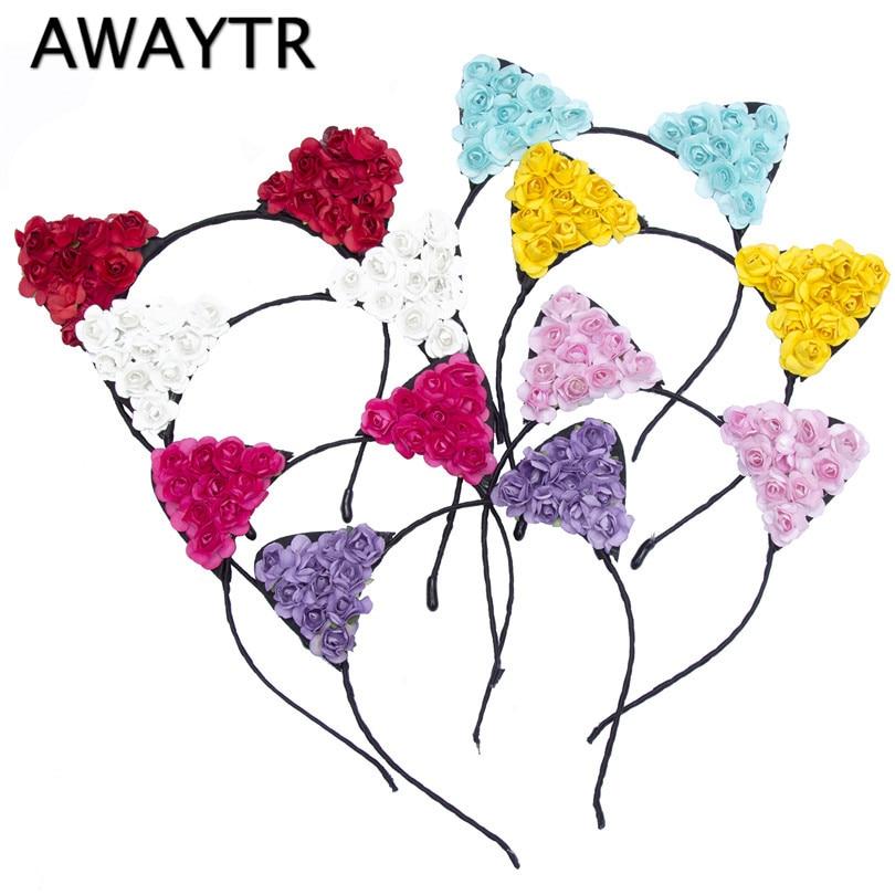 AWAYTR Children Girls Flower Cat Ears 2019 New Cute Hair Accessories   Headwear   Boho Style Hairbands Headband Cat Hairband