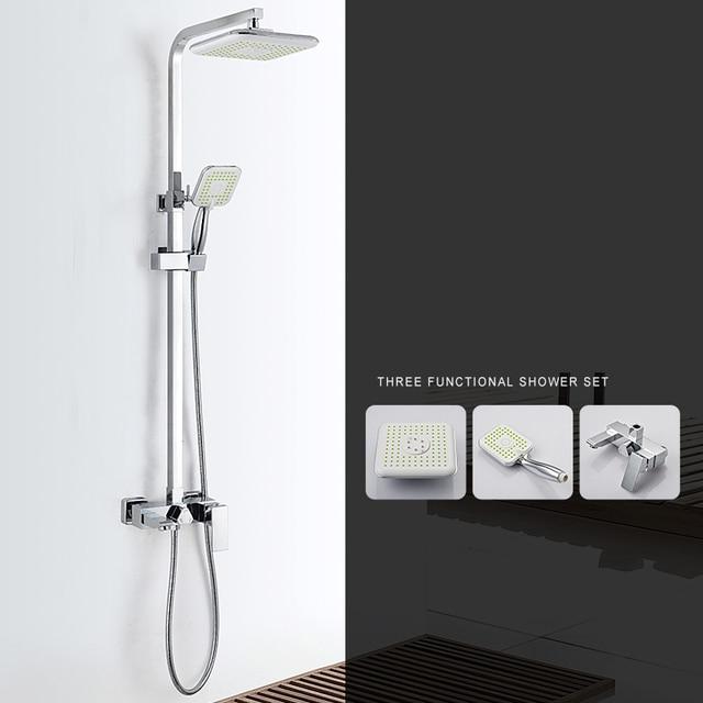 Modern Square 8 Rain Shower Head Top Over Sprayer Dual Function
