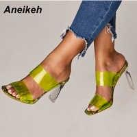 Aneikeh 2019 Snakelike sandales cristal ouvert bout haut talons femmes Transparent talon sandales pantoufles escarpins 11CM grande taille 41 42