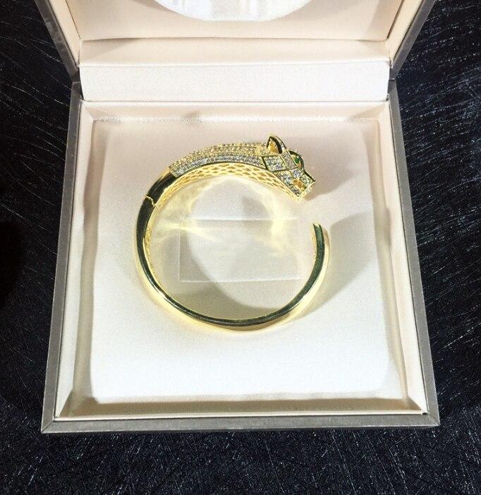 Bijoux de fête de mode chaude pour les femmes Rose or noir motif panthère bijoux de mariage bracelet léopard bijoux réglables - 3