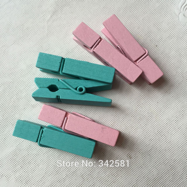 Pink Wood Clothespins For Craft Scrapbooking Gift Wrap Baby Shower Boy Girl  Birthday Party Candy Buffet