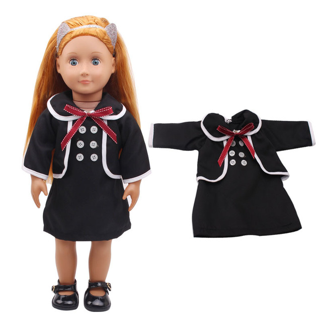 2Pcs/Set American Girl Doll Clothes Set Coat Dress For 18 Inch Doll Suit Set Fit 43cm Baby Born Zapf Dolls