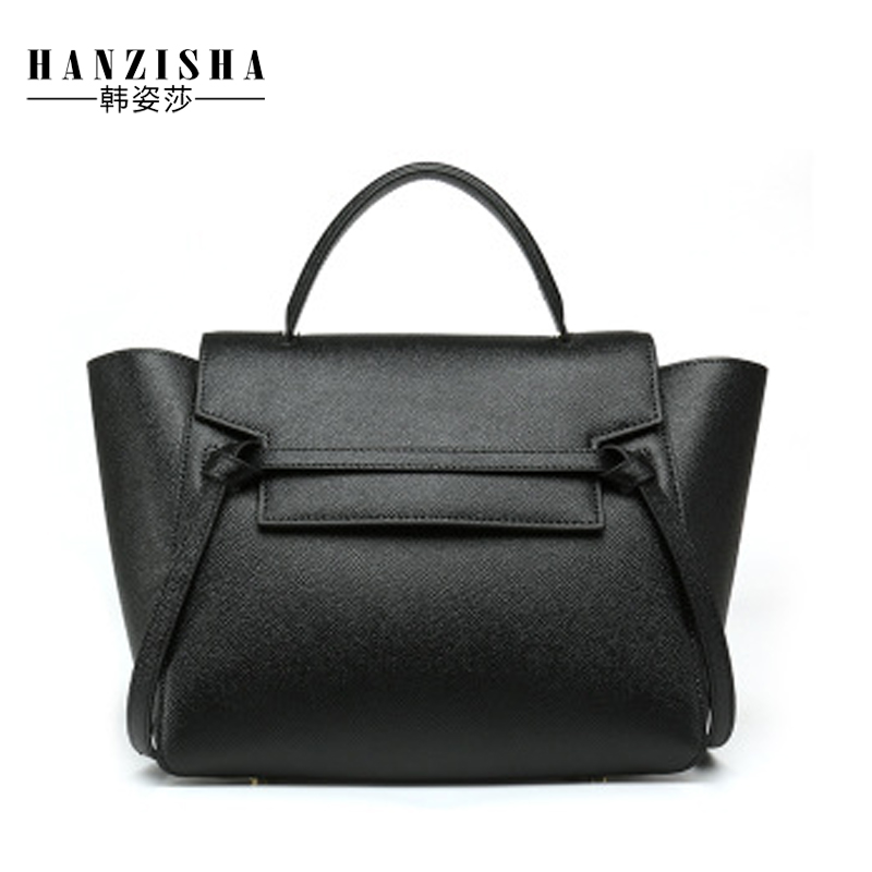 цена на 2018 Fashion Genuine Leather Women Handbag Luxury Design Women Bag Leather Ladies Shoulder Messenger Trapeze Bag Casual Tote