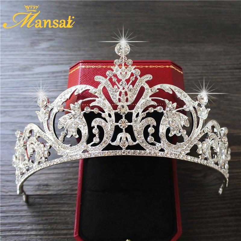 Shining European Rhinestone Crown Women Wedding Pageant Crowns and Tiaras Crystal Bride Marriage Diadem Head Accessories HG193