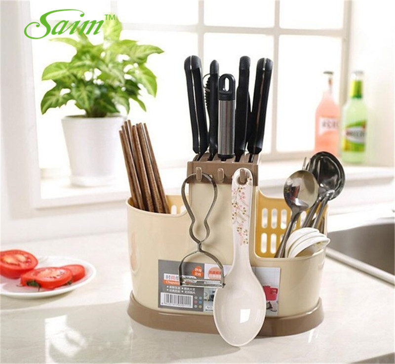 Saim Plastic Drain Chopstick Holder Spoon Rack Chopsticks Cage Kitchen Cutlery Storage Rack Stand For Knives Chopsticks Tube
