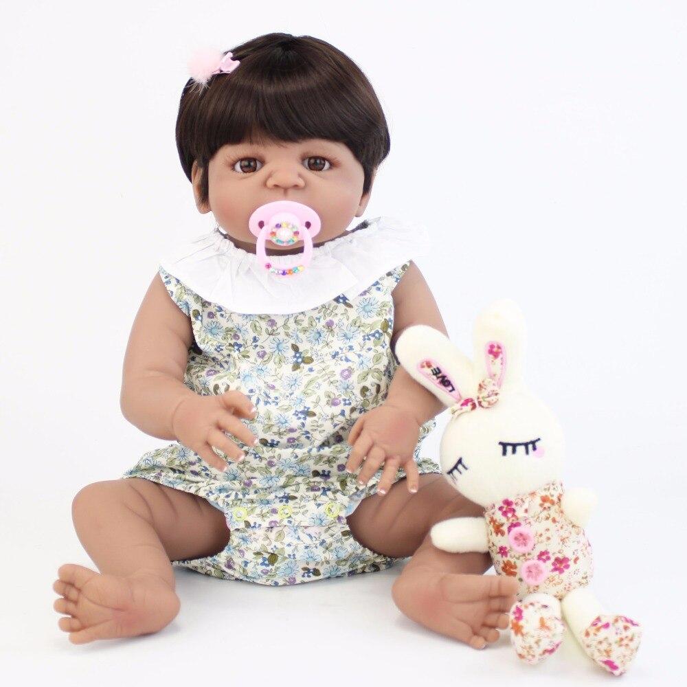 55 cm Silicone corps Reborn bébé poupée jouet comme réel peau noire nouveau né bébés vivants Bebe poupée bain jouet filles Bonecas-in Poupées from Jeux et loisirs    2