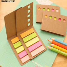 4PCS Cute Kraft Cover Memo Pad Plaids and Lines Note Sticky Paper Stationery Planner Stickers Notepads Office School Supplies