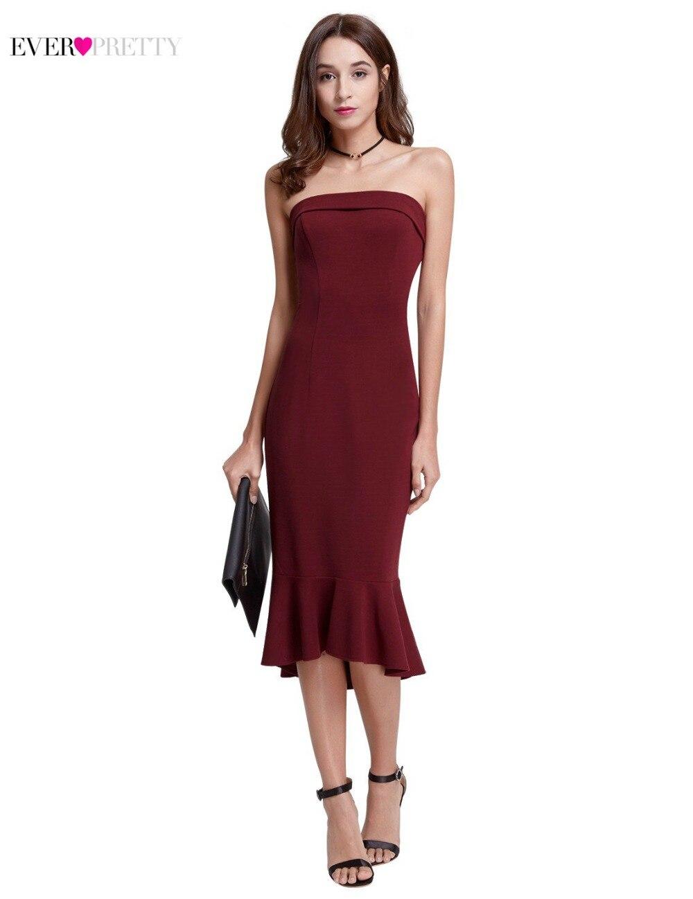 Gorąca sprzedaż burgundowe sukienki koktajlowe 2018 Ever Pretty - Suknie specjalne okazje - Zdjęcie 2