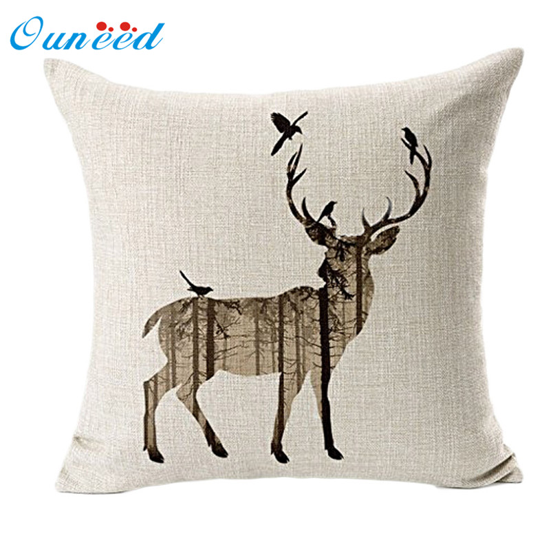 Buy deer sofa bed throw pillow case for Decorative bed pillow case