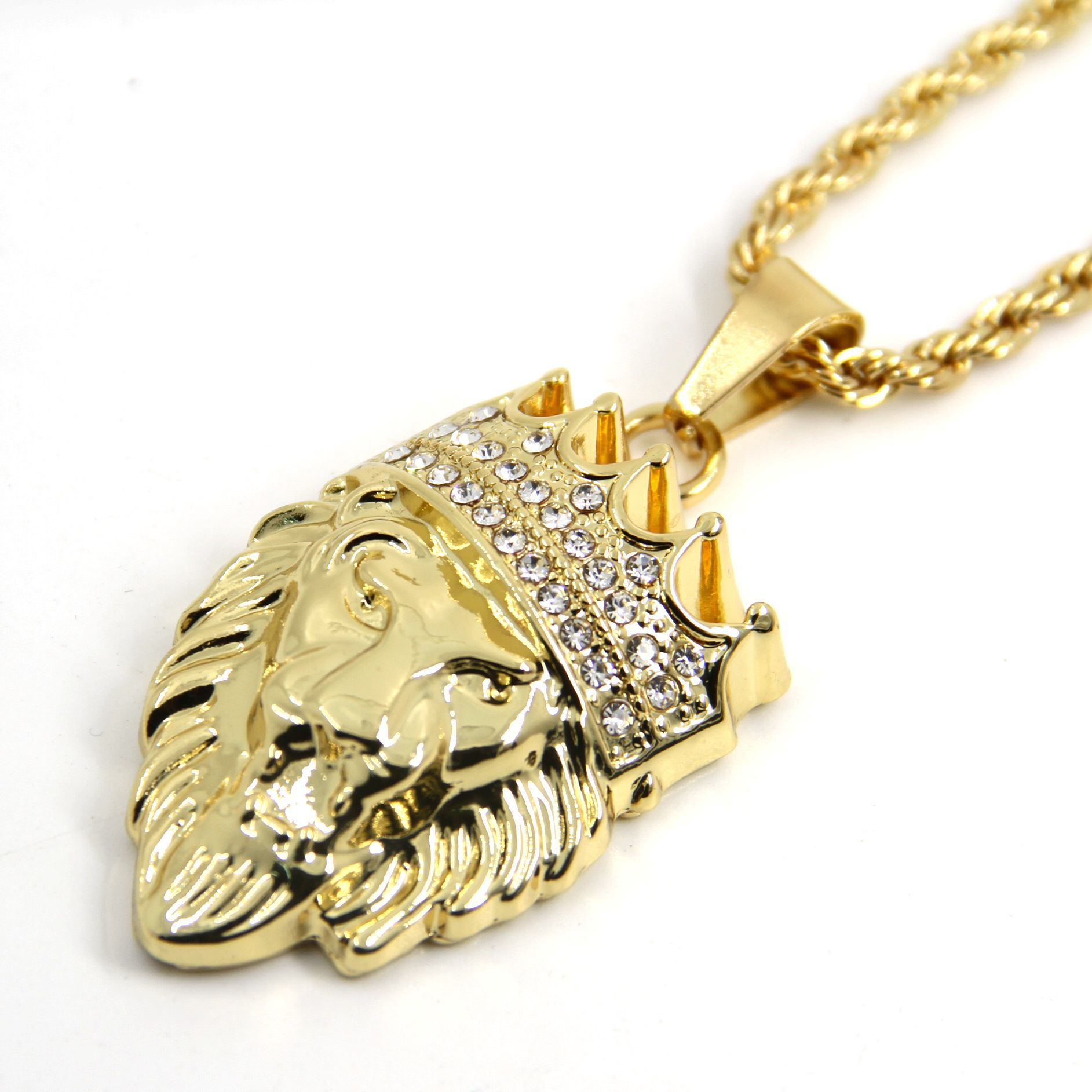 Men's Real Crown Lion KINGS LANDING Masculine Pendant Necklace with FREE Chain 23 inches Men Jewelry CX460
