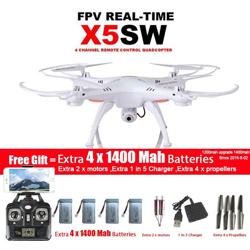 Drone quadrirotor WIFI SYMA X5SW/X5SW-1 avec caméra FPV sans tête 6 axes vidéo en temps réel hélicoptère RC Quad copter avec 5 batteries