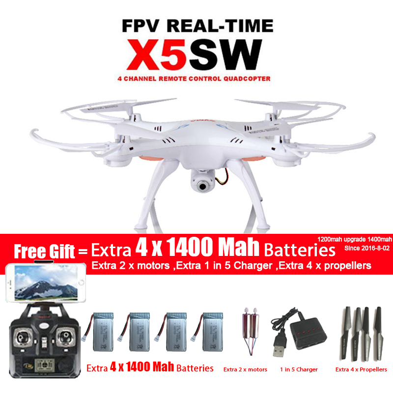 SYMA X5SW/X5SW-1 WIFI Drone Quadcopter With FPV Camera Headless 6-Axis Real Time Video RC Helicopter Quad copter With 5 Battery syma x5sw 4ch 2 4ghz 6 axis rc quadcopter with hd camera hovering headless mode rc drone 1200mah battery prop 4pcs motor 2pcs