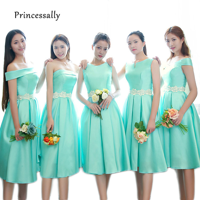 0a846fa1d0 US $45.6 5% OFF|Cheap New Turquoise Bridesmaid Dress Tea length Satin  Sleeveless White Lace Waist Elegant Prom Party Formal Gown Robe De  Soriee-in ...