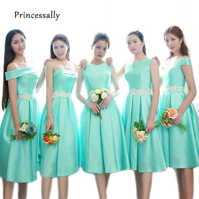 Murah Baru Turquoise Bridesmaid Dress Tea-length Satin Tanpa Lengan Putih  Renda Pinggang Elegan Prom 2f43a19ca2de
