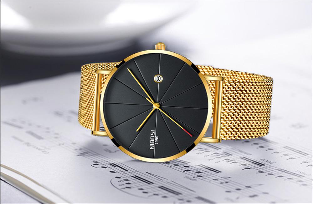 NIBOSI watch men black quartz wristwatches stainless steel mesh brand  watches men ultra thin quartz relogio masculino dourado (10)
