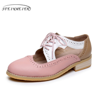 Da phụ nữ mùa hè oxford dép người phụ nữ lớn giày dép MỸ 11 vòng toe handmade hồng trắng đen 2017 oxfords giày cho phụ n