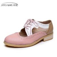 Las mujeres del verano sandalias de cuero oxford zapatos grandes mujer EE.UU. 11 punta redonda hecha a mano de color rosa blanco negro 2017 zapatos oxford mujeres