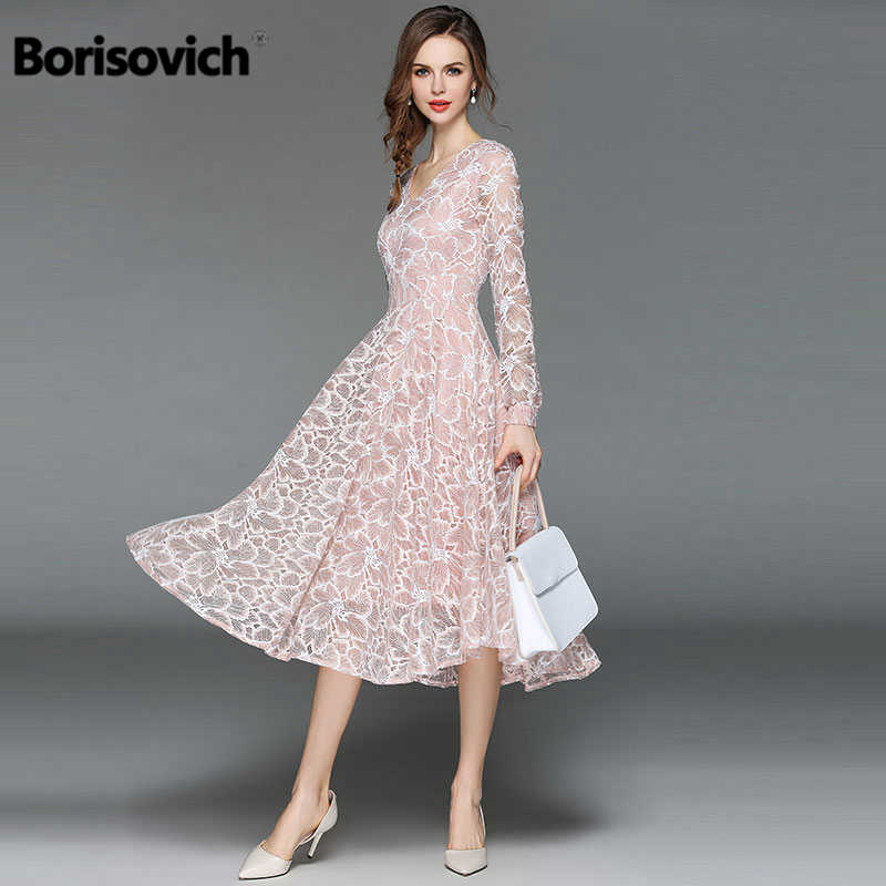 Borisovich Women Casual Lace Dress New 2018 Autumn Fashion Long Sleeve V-neck Elegant Slim A-line Women's Party Dresses M398